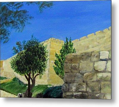 Outside The Wall - Jerusalem Metal Print by Linda Feinberg