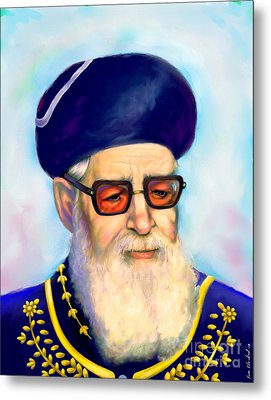 Metal Print featuring the painting Ovadiah Yosef by Sam Shacked