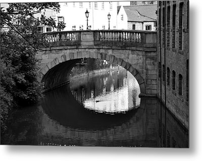 Metal Print featuring the photograph Oval Bridge Over The River Foss York by Scott Lyons