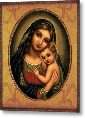 Metal Print featuring the mixed media Oval Madonna  by Ananda Vdovic