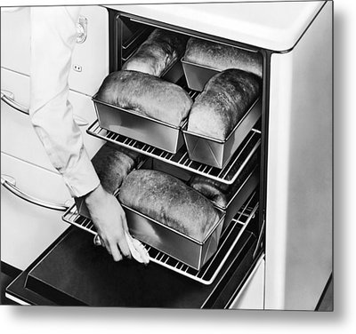 Oven Fresh Warm Bread Metal Print by Underwood Archives