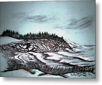 Metal Print featuring the drawing Oven's Park Nova Scotia by Janice Rae Pariza