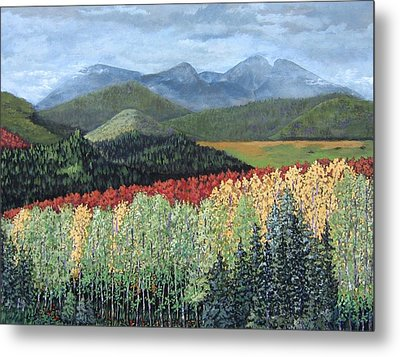 Metal Print featuring the painting Over The Hills And Through The Woods by Suzanne Theis