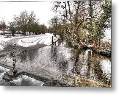 Overflowing River In Winter Metal Print by Gill Billington