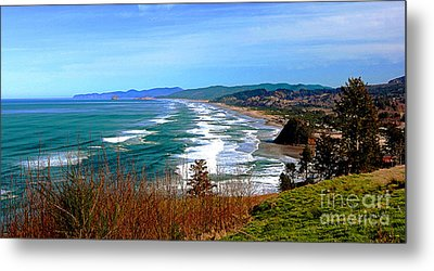 Overlooking Proposal Rock Cape Lookout Haystack Rock And Cape Kiwanda Metal Print by Margaret Hood