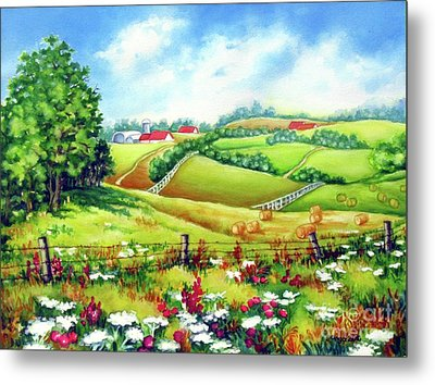 Metal Print featuring the painting Overlooking The Meadow by Inese Poga
