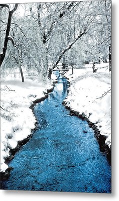 Overnight Snow In Edgemont Park Metal Print by Kellice Swaggerty