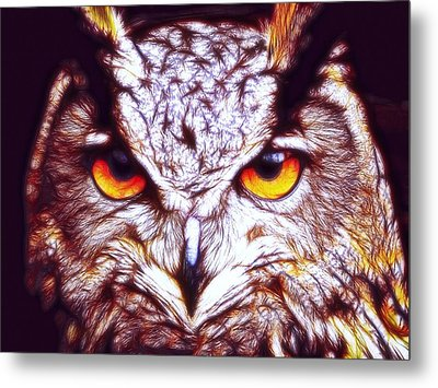 Metal Print featuring the digital art Owl - Fractal by Lilia D