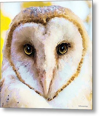 Owl Art - Soft Love Metal Print by Sharon Cummings