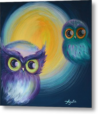 Metal Print featuring the painting Owl Be Watching You by Agata Lindquist