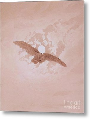 Owl Flying Against The Moon Metal Print by Pg Reproductions