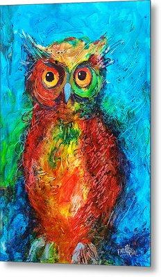 Owl In The Night Metal Print