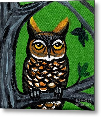 Owl In Tree With Green Background Metal Print by Genevieve Esson