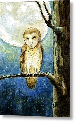 Metal Print featuring the painting Owl Moon by Terry Webb Harshman