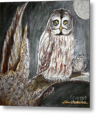 Owl Mother Metal Print by Elena  Constantinescu