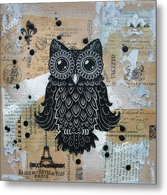 Owl On Burlap1 Metal Print by Kyle Wood
