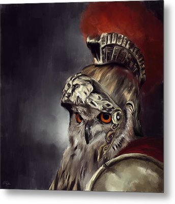 Owl Roman Warrior Metal Print by Lourry Legarde