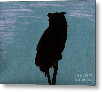Metal Print featuring the drawing Owl Silhouette by D Hackett