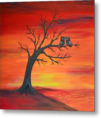 Metal Print featuring the painting Owl Tell You Something by Agata Lindquist
