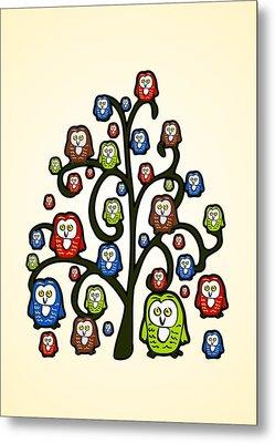 Owl Tree Metal Print