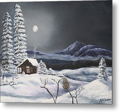 Owl Watch On A Cold Winter's Night Original  Metal Print by Kimberlee Baxter