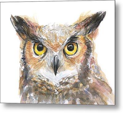 Owl Watercolor Portrait Great Horned Metal Print by Olga Shvartsur