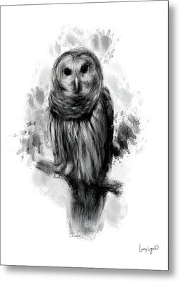 Owl's Portrait Metal Print by Lourry Legarde