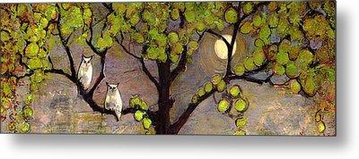 Owls Sitting In The Moonlight Metal Print by Blenda Studio