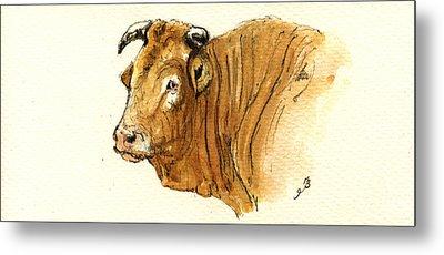 Ox Head Painting Study Metal Print by Juan  Bosco