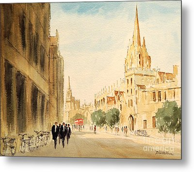 Metal Print featuring the painting Oxford High Street by Bill Holkham