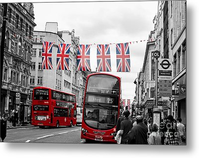 Metal Print featuring the photograph Oxford Street Flags by Matt Malloy