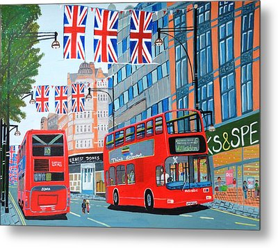 Oxford Street- Queen's Diamond Jubilee  Metal Print by Magdalena Frohnsdorff