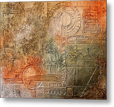 Oxidization Sacred Geometry Metal Print by Patricia Lintner