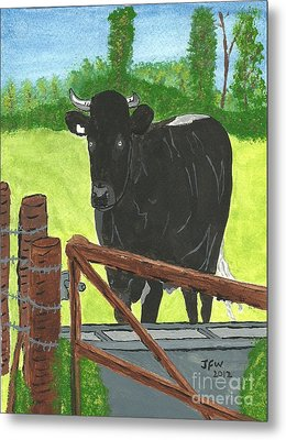Metal Print featuring the painting Oxleaze Bull by John Williams