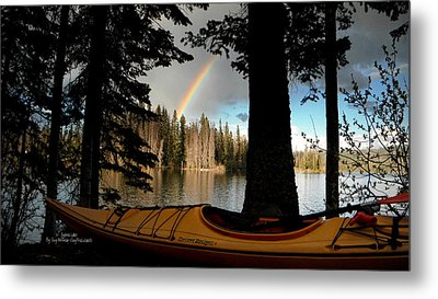 Oyama Lake - Kayaking Metal Print