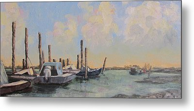 Oyster Boat Evening Metal Print by Susan Richardson