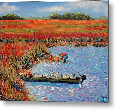 Oystermen At Folly Beach Metal Print by Dwain Ray