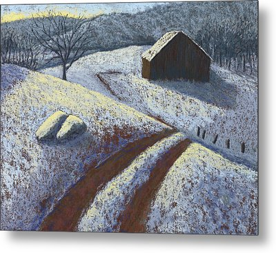 Ozark Winter Barn Metal Print by Garry McMichael