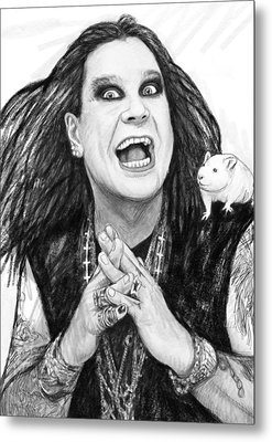Ozzy Osbourne Art Drawing Sketch Portrait Metal Print