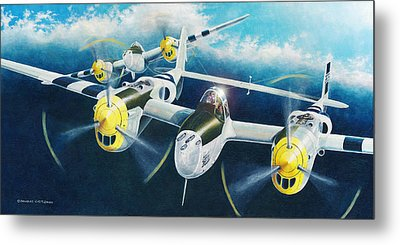 P-38 Lightnings Metal Print by Douglas Castleman