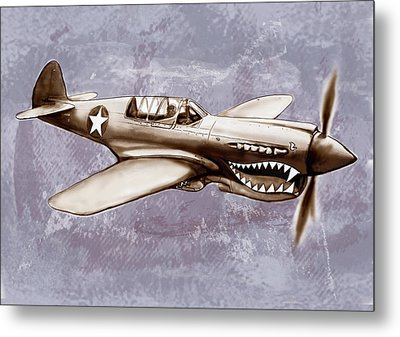 P 40 N Warhawk Airplane In World War 2 - Stylised Modern Drawing Art Sketch Metal Print by Kim Wang