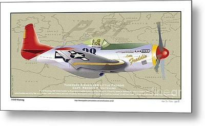 Metal Print featuring the drawing P-51  by Kenneth De Tore