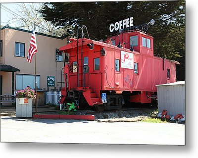 P Town Cafe Caboose Pacifica California 5d22659 Metal Print by Wingsdomain Art and Photography
