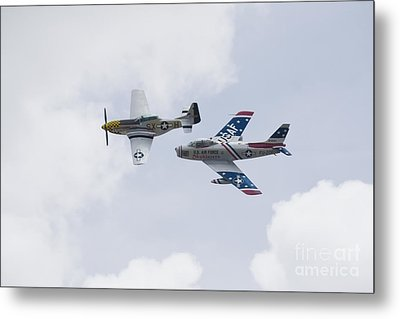P51 And F86 Heritage Flight Metal Print by Ules Barnwell