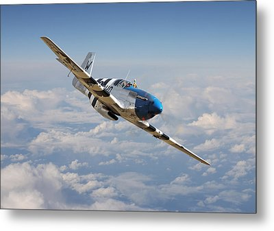 P51 Mustang - Symphony In Blue Metal Print