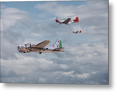 P51 Red Tails - Bringing Them Home Metal Print by Pat Speirs