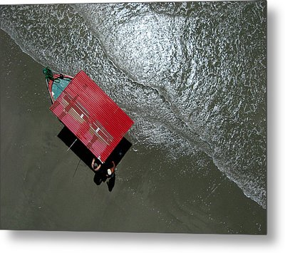 Pablo's Red Boat From Overhead Metal Print by Rob Huntley