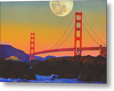 Metal Print featuring the painting Pacific Sunset - Golden Gate Bridge And Moonrise by Douglas MooreZart