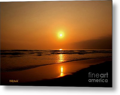 Pacific Sunset Reflection Metal Print by Debby Pueschel