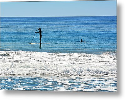 Paddle Boarder And Dolphin Metal Print by Susan Wiedmann